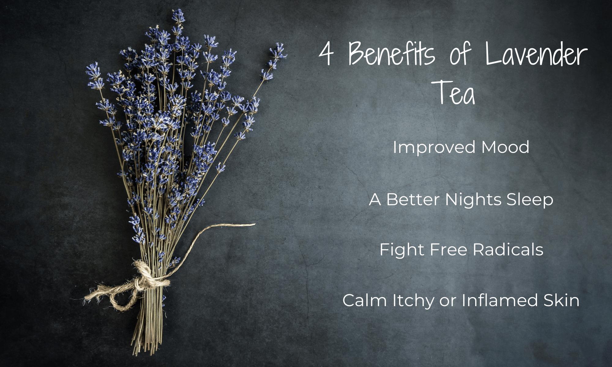 lavender sprigs on chalkboard| List of Lavender tea benefits