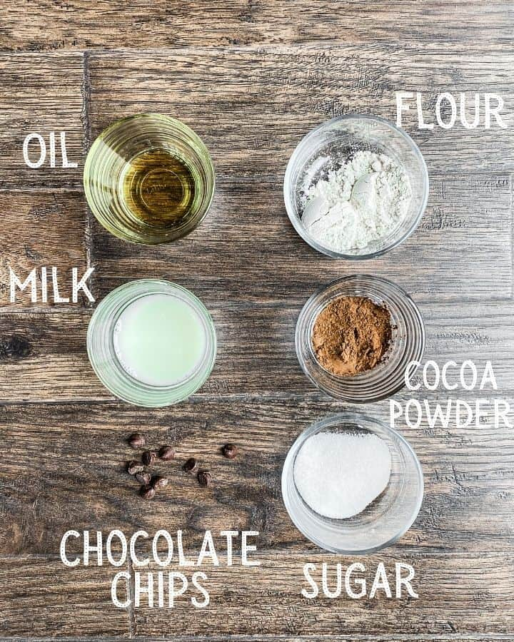 All ingredients needed for vegan mug brownie. Oil, flour, milk, cocoa, sugar, and chocolate chips