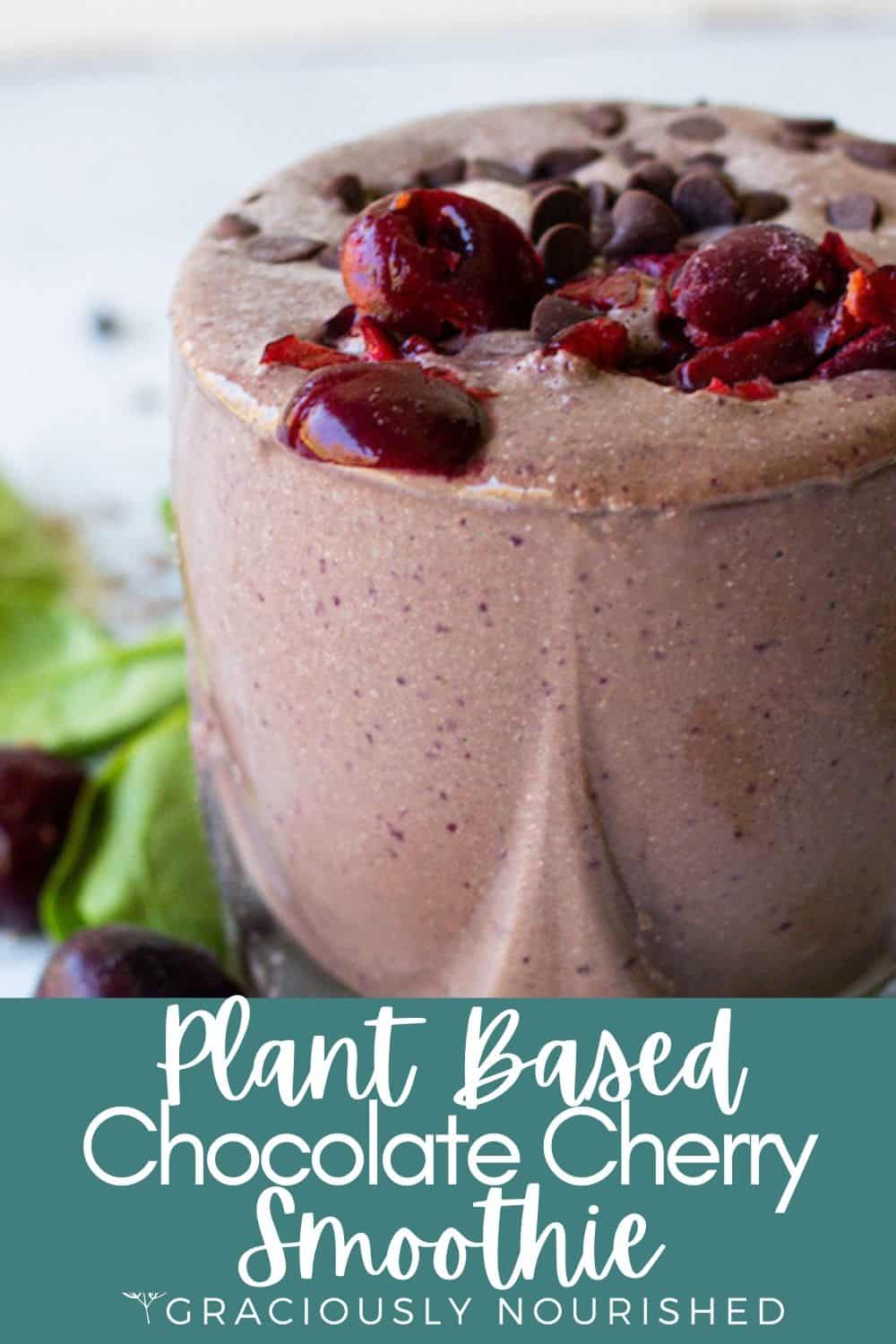 Image of smoothie garnished with cherries and chocolate chips | Plant Based Chocolate Cherry Smoothie