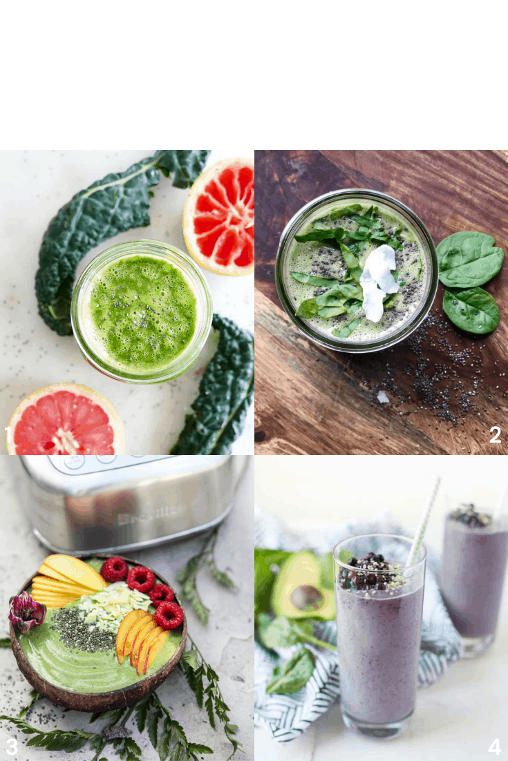 4 Smoothies to Lower Cholesterol: greren grapefruit, green smoothie with chia and peach, matcha chia, vegan energy boosting smoothie.