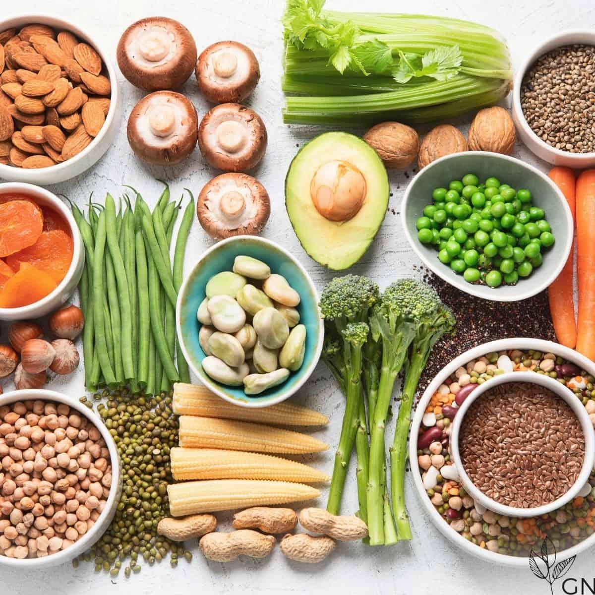 plant based foods: fruiits, vegetables, beans, seeds, nuts, mushrooms