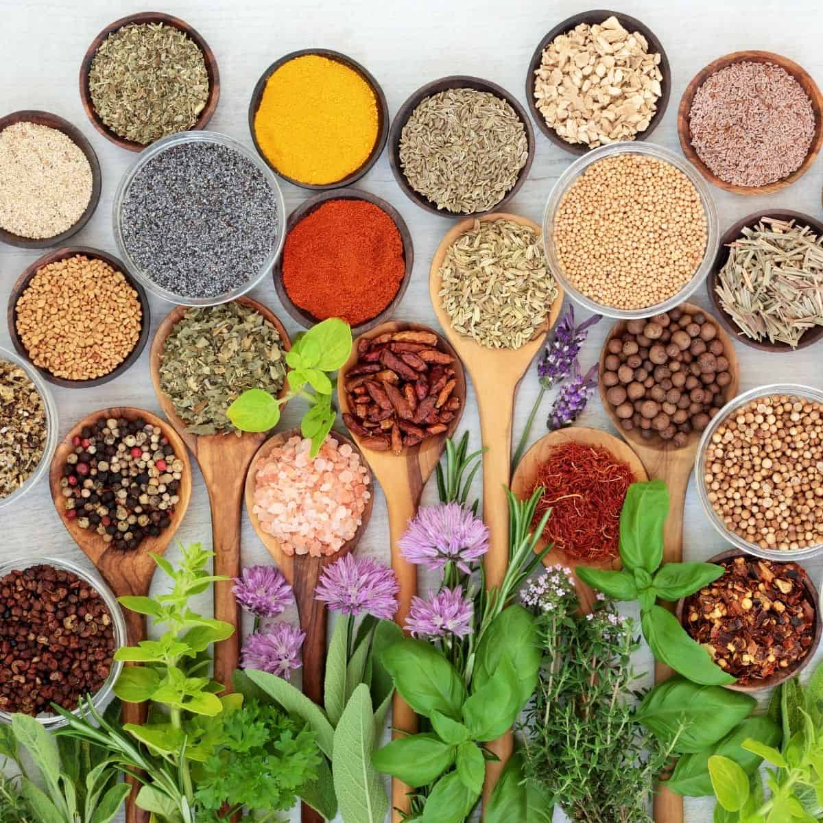 Image of herbs and spices that can be used on a vegan diet
